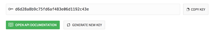 API key shown within team integrations settings page